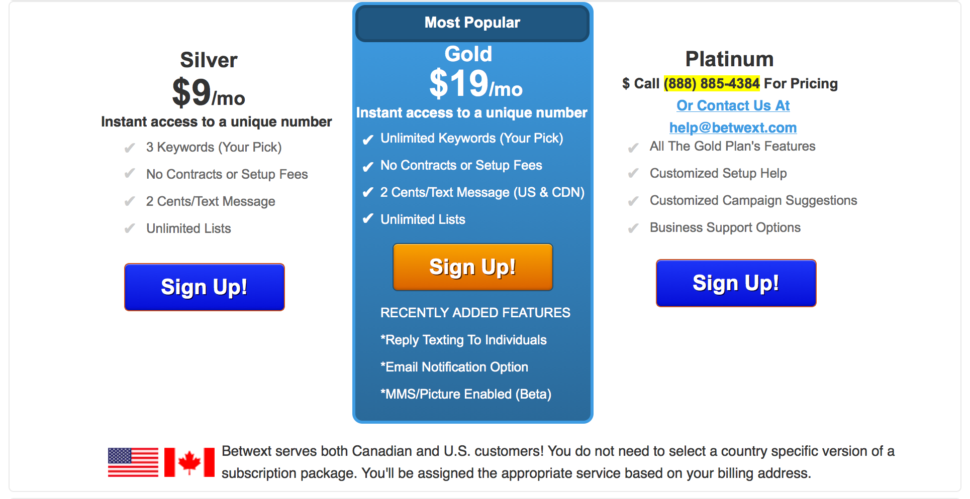 SMS and MMS Pricing